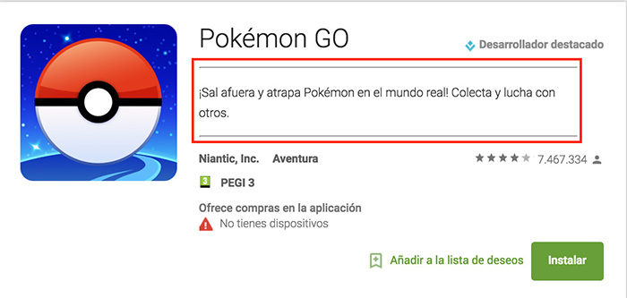 ASO Pokémon Go Short Description