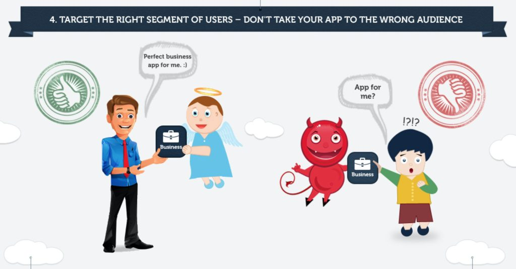 Target de right segment of users don't take your app to the wrong audience