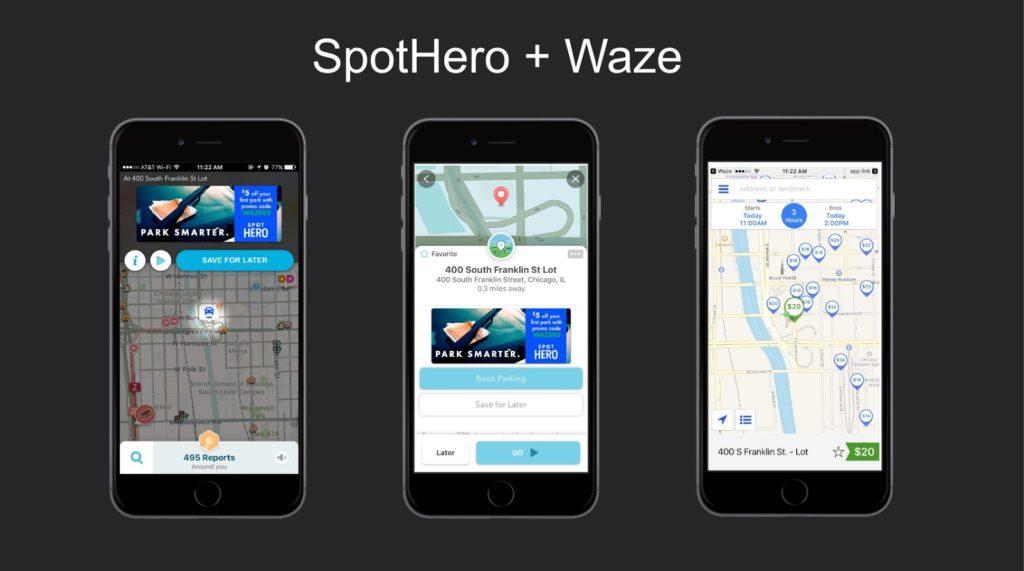 spothero waze partnership app users