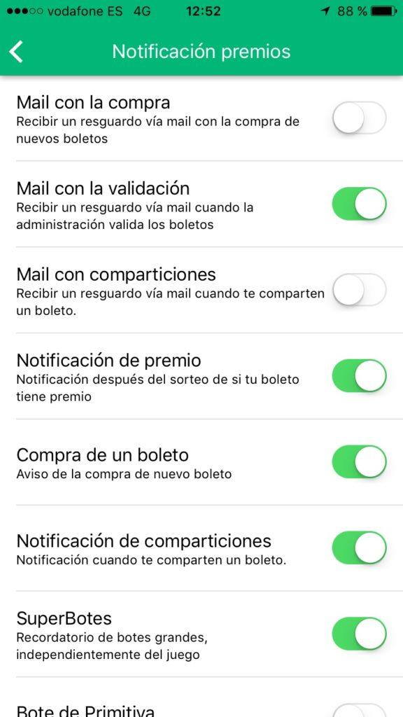 Configuracion TuLotero notificaciones