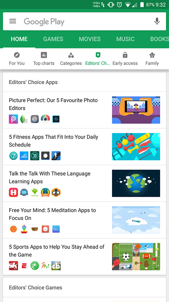 Google Play Editor's choice nuevo