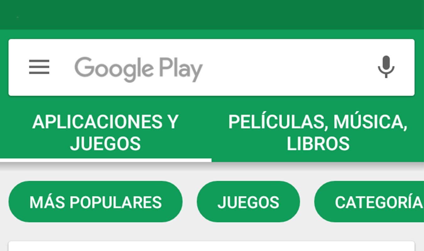 Google Play Menu Actual