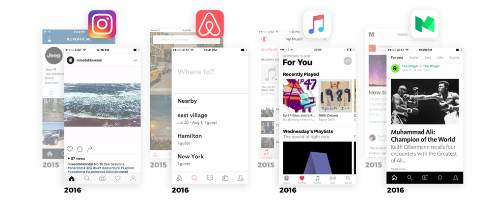 Complex Reduction Diseño Apps Instagram Airbnb itunes Medium