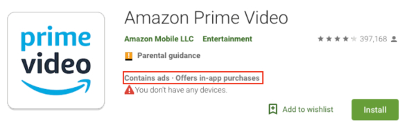Amazon Prime Video In App Purchases