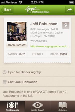 Gayot App Screenshot