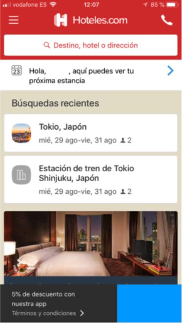 Hoteles.com personalización UX