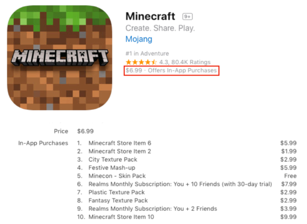 Minecraft in-app purchases app
