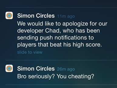 Simon Circles Push Notifications Humor