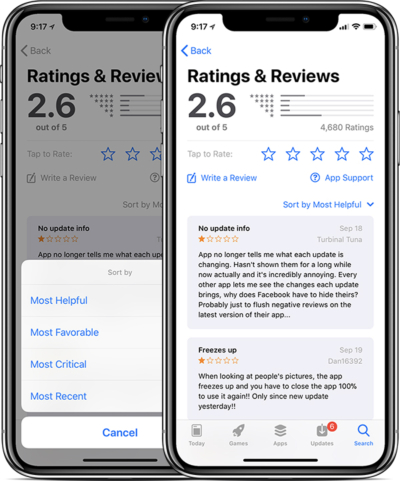 ios 11 app store reviews sorting